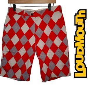 Loudmouth Mens Argyle Golf Shorts Red 32 Waist